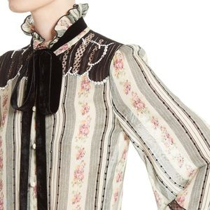 Marc Jacobs Embellished Brocade Print Blouse Small